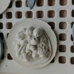 Casts of sea creatures shells ...now returned to the beach.